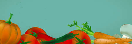 Banner  With Vegetables and Fruits - Pumpkin, Tomatoes, Carrots, Peppers