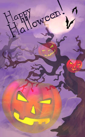 Happy Halloween Celebration Card with Pumpkin Banque d'images