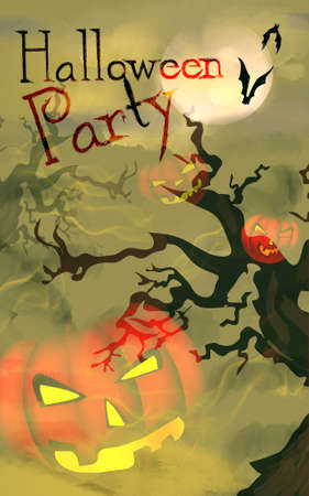 Halloween Celebration Party Invitation with Pumpkin