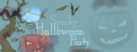 Halloween Celebration Party Invitation with Pumpkin and Copy Space
