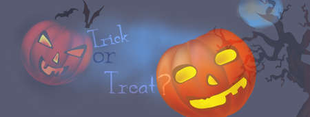 Happy Halloween Banner Horizontal Template with Illuminated Pumpkins and Trick or Treat Copy