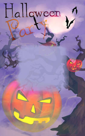 Happy Halloween Poster Card Template with Illuminated Pumpkins