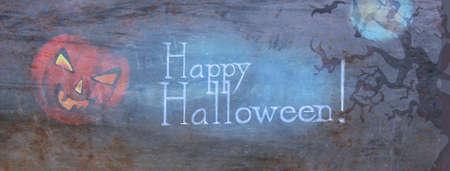 Happy Halloween Header Banner with Creepy Pumpkin