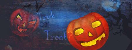 Halloween Dark Banner with Trick ot Treat Copy Banque d'images