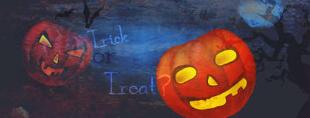 Halloween Dark Banner with Trick ot Treat Copy Banque d'images