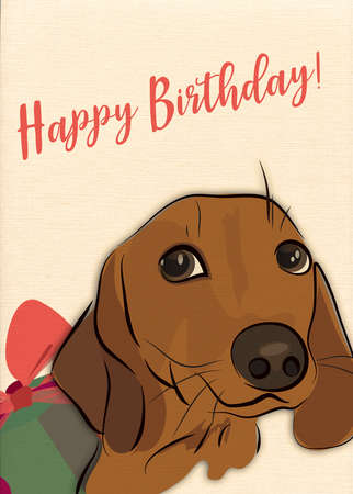 Happy Birthday Greeting Card with Sausage dog and Present
