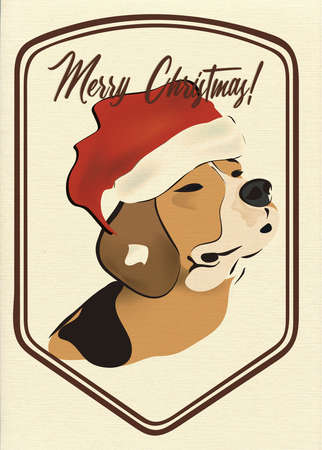 Merry Christmas Greeting Card with Beagle Dog Banque d'images