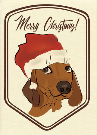 Merry Christmas Greeting Card with Dachshund Sausage dog Banque d'images