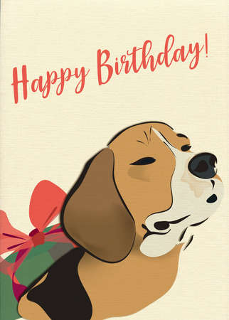 Happy Birthday Greeting Card with Beagle Dog and Present