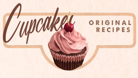 Cupcakes Original Recipes Retro Looking Banner. Chocolate Muffin with Cream and Cherry. Banque d'images - 110843219