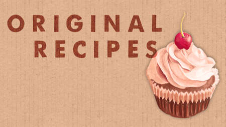 Cupcakes Original Recipes Banner. Chocolate Muffin with Cream and Cherry on  a Cardboard Background