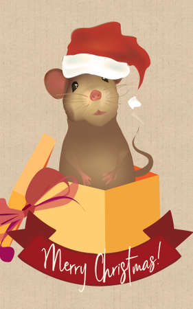 Merry Christmas Greeting Card with Santa Claus Mouse. Illustration of a Cute Little Mouse in a Gift Box.