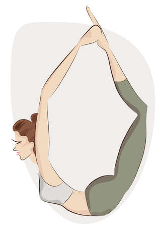 Girl Making Yoga Exercise. Vector Illustration of a Woman in Yoga Balance Pose.