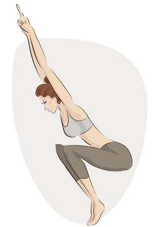 Practicing Yoga. Vector Illustration of a Woman Making Exercise in a Fitness Outfit