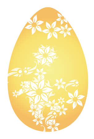 Easter Golden Egg with Carved Beautiful Flowers. Gold Egg with Floral Decoration Illustration