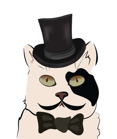 Illustration of a Cat with Cylinder. Black and White Cute Kitten with Hat and Bow Tie.
