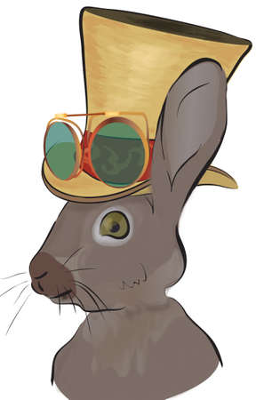 Illustration of a Rabbit in Steampunk Style. Hare with Hat and Glasses