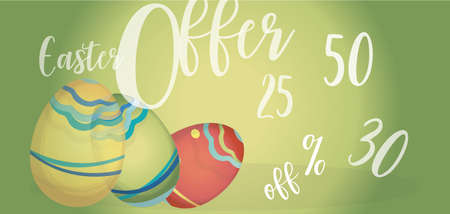 Easter Offer Advertising Banner with Colorful Eggs and Percent Off Illustration