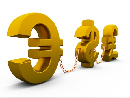3D dollar,euro and pound isolated on white