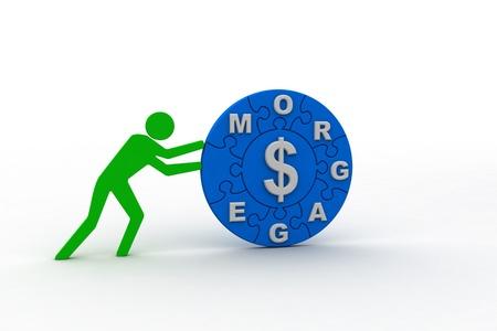 Push the morgage Stock Photo