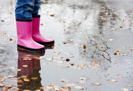 rain wet: Boots in a puddle