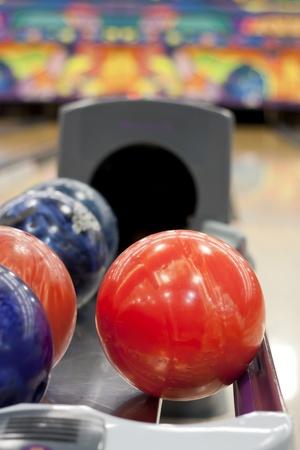 Colorful bowling balls photo