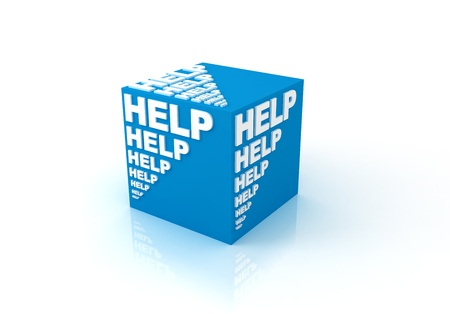 education help: 3d cubes with word  HELP  Stock Photo