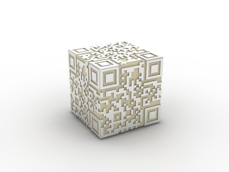 upcode: 3d rendered concept of a qr-code. Isolated. Stock Photo