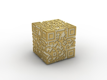 3d rendered concept of a qr-code  photo