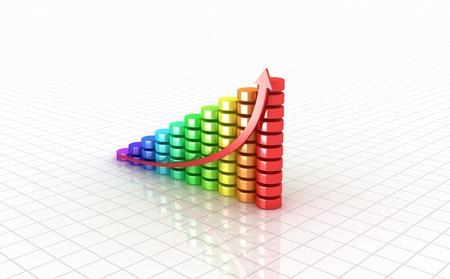 Business graph  3D image  photo