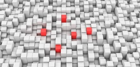 Gray Blocks Background and five Red Stock Photo - 16062305