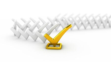 Gold check marks Stock Photo - 16297790
