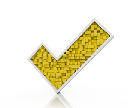 Yellow check mark from cubes Stock Photo - 16297791