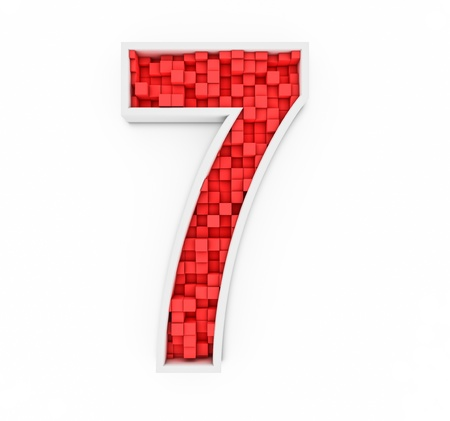 Number seven from red cubes photo