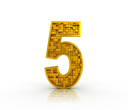 Number five from golden cubes photo