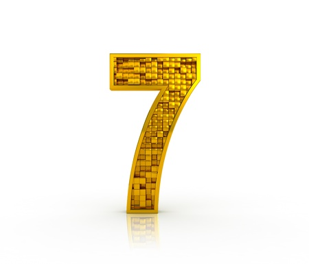 Number seven from golden cubes