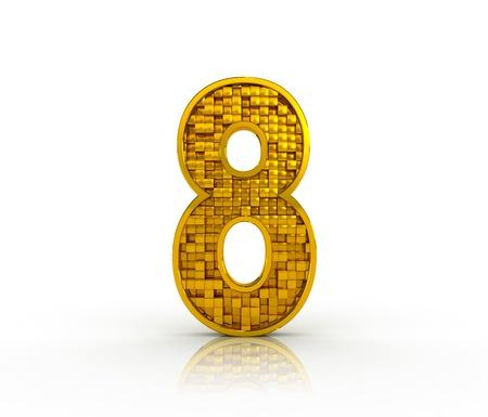 Number eight from golden cubes. 3D render
