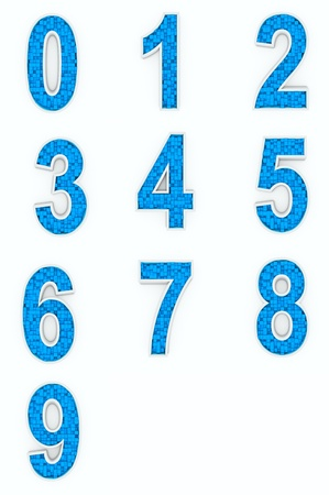 Blue numbers from cubes photo