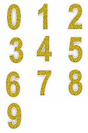 Yellow numbers from cubes photo