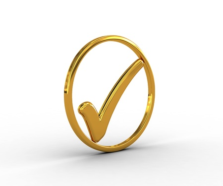 Golden ring with check mark Stock Photo - 18511493