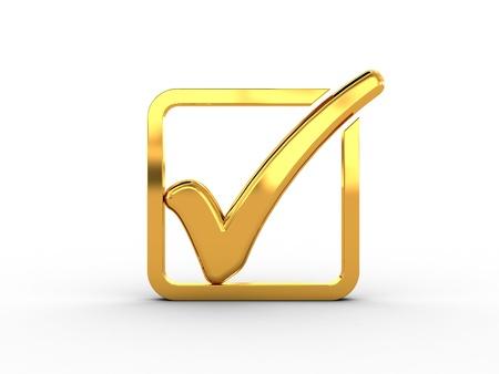 check icon: Rect�ngulo de oro con la marca de verificaci�n Foto de archivo