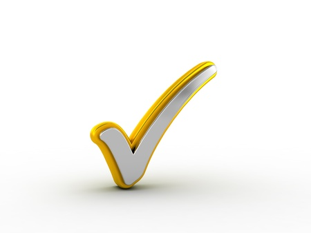 Silver check mark with golden outline Stock Photo - 18842528