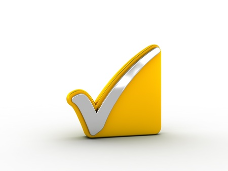 Silver check mark on golden plate Stock Photo