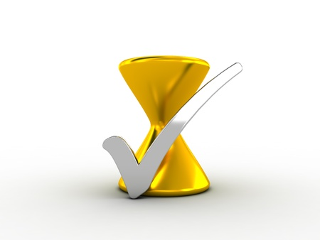 Silver check mark with golden hourglass