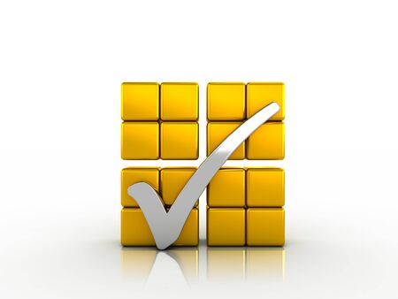 Silver check mark and golden cubes Stock Photo - 19091722