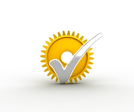 Silver check mark and gold gear Stock Photo