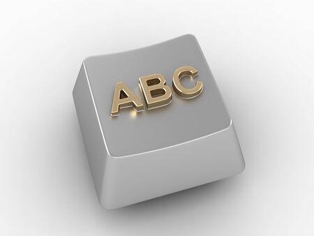 typer: A, B, C white metal computer key. 3D render. Stock Photo