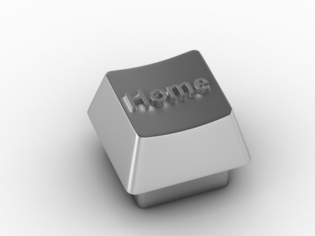 function key: Silver home key on white. 3D render