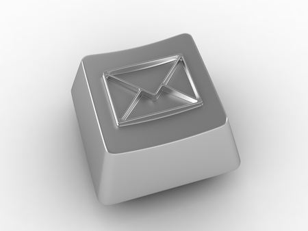 Silver keyboard key with envelop sign. 3D render