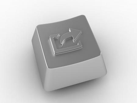 function key: Silver keyboard key with arrow sign.
